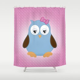 Cool Hooter - Owl illustration pink and blue Shower Curtain