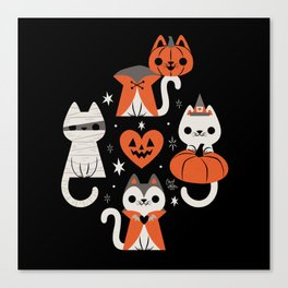 Halloween Kitties (Black) Canvas Print