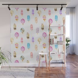 Dolce vita || watercolor ice cream summer pattern Wall Mural