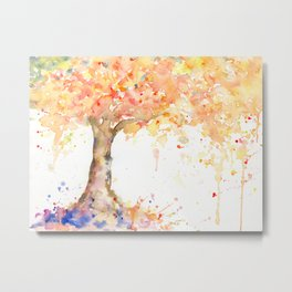 Watercolor Abstract Tree Fall Tree Golden Tree Metal Print
