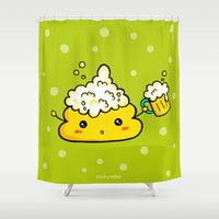 poop Shower Curtains featuring Beer Poo by CindyMakes
