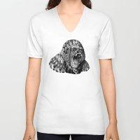 gorilla V-neck T-shirts featuring Gorilla by BIOWORKZ