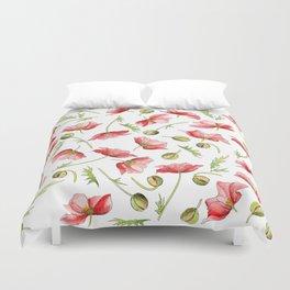 Red Poppies, Illustration Duvet Cover