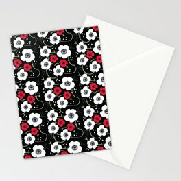 Anemone Print on Black Stationery Cards