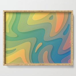 Free Flow | Psychedelic Abstract Digital Art Serving Tray