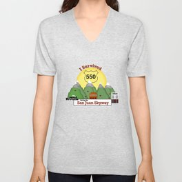 I Survived Hwy 550 Durango, Silverton & Ouray Colorado Unisex V-Neck