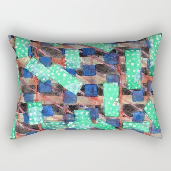 Dotted Green Rectangles on Top Pattern Rectangular Pillow
