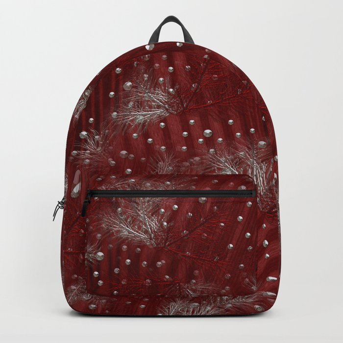 Silver Red Christmas Backpack