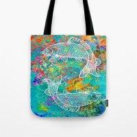yin yang Tote Bags featuring YIN & YANG by AlyZen Moonshadow