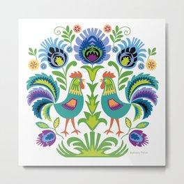 Polish Folk Design Two Roosters Metal Print