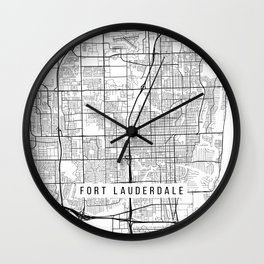Fort Lauderdale Map, USA - Black and White Wall Clock