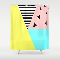 geo Shower Curtains featuring geo by bored woo