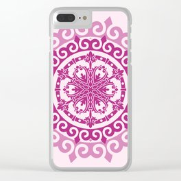 Pink Mandala on Baby Pink Background Clear iPhone Case