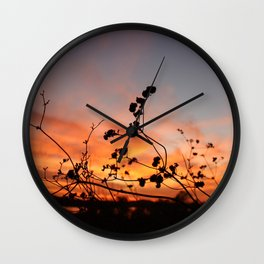 Flowers in the Sunset Wall Clock
