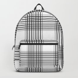 Gray & White Plaid Backpack