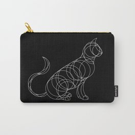 Geo Cat - White Ink on Black Carry-All Pouch