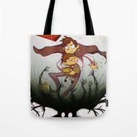 over the garden wall Tote Bags featuring Over the garden wall by Itzitxou