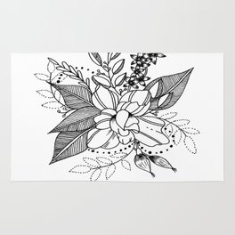 """ Floret"" Botanical zentangle Rug"
