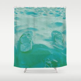 Thongs in the sand photo Shower Curtain