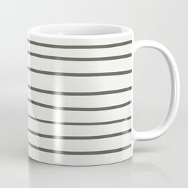 Brown and White Thin Horizontal Line Pattern 2021 Color of the Year Urbane Bronze Extra White Coffee Mug