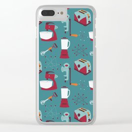 Retro Kitchen - Teal and Raspberry Clear iPhone Case