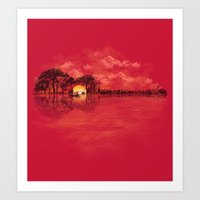 sunset Art Prints featuring Musical Sunset by dan elijah g. fajardo