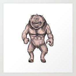 Cyclops Standing Tattoo Art Print