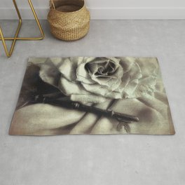 Faded Rose and Old Key Vintage Style Modern Country Cottage Art A130 Rug