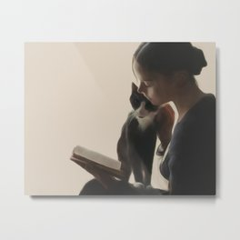 The PurrFect Read Metal Print