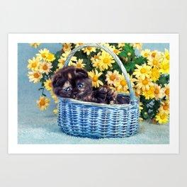 Kitten In Summertime Basket Art Print