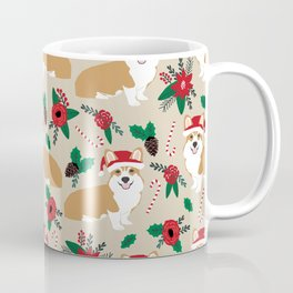 Welsh Corgi poinsettia christmas hat santa little corgi elf pet friendly dog breed gifts Coffee Mug