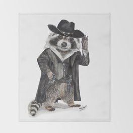""" Raccoon Bandit "" funny western raccoon Throw Blanket"