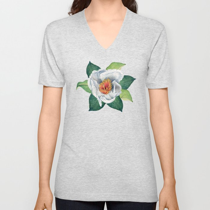 Franklin tree flowers Unisex V-Neck