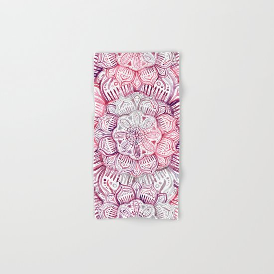Burgundy Blush Watercolor Mandala Hand & Bath Towel