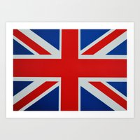 union jack Art Prints featuring Union Jack by MICHELLE MURPHY