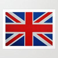 union jack Art Prints featuring Union Jack by GoldTarget