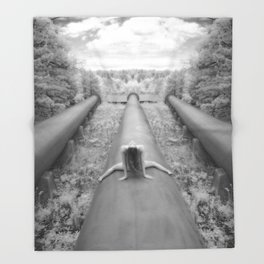 0925-LP Industrial Nature Nude Woman Straddling Massive Hydro Pipe Throw Blanket