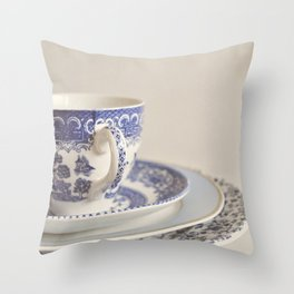 China cup and plates. Throw Pillow