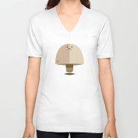 mushroom V-neck T-shirts featuring Mushroom by Mister Linus