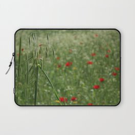 Seed Head With A Beautiful Blur of Poppies Background Laptop Sleeve