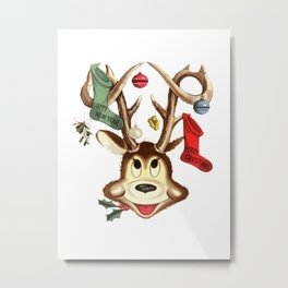 Reindeer Antlers and Christmas Stockings  Metal Print