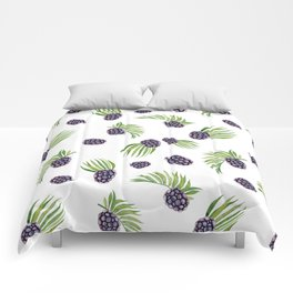 Hand painted black green watercolor fruity blackberries Comforters
