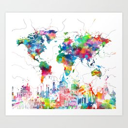 world map watercolor collage Art Print