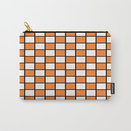 Checkered Outlined Orange and Black Carry-All Pouch