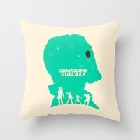 guardians of the galaxy Throw Pillows featuring Guardians of the Galaxy by FelixT