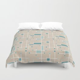 Intersecting Lines in Tan, Turquoise and Sea Foam Duvet Cover