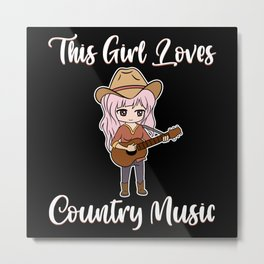 This Girl Loves Country Music Band Acoustic Guitar Metal Print