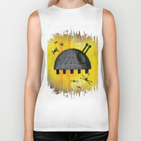 death star Biker Tanks featuring Death Star Bug by TheCore