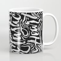 sia Mugs featuring Elastic Heart B&W by Jillian Adel