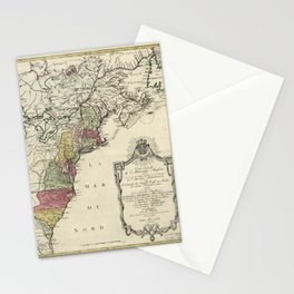 Colonial America Map by Matthaus Lotter (1776) Stationery Cards